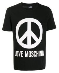 Love Moschino Black Peace Sign T-shirt for men