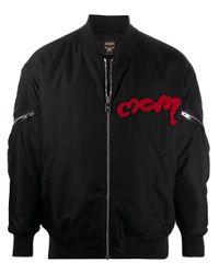 MCM Black Logo Patch Bomber Jacket for men