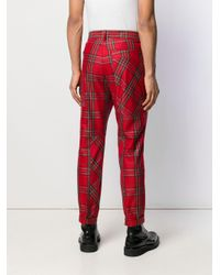 メンズ Just Cavalli チェック プリントパンツ Red