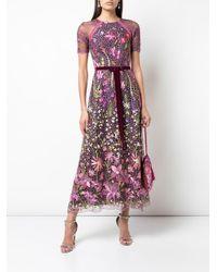 Floral landscape embroidered cocktail dress Marchesa notte en coloris Purple
