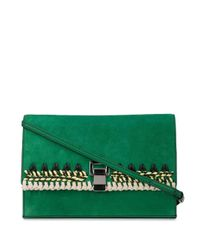 Proenza Schouler Suede Crochet Small Lunch Bag Green