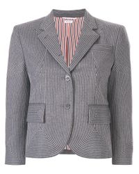 Thom Browne Gray Embroidered Flannel Sport Coat