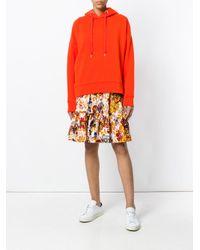 Closed Orange Printed Hood Sweatshirt