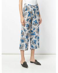 Erika Cavallini Semi Couture White Cropped Floral Print Trousers
