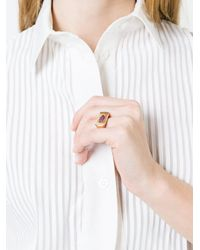 Alison Lou | Metallic Ruby Lips Bar Ring | Lyst