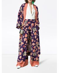 Racil Multicolor Silk Floral Printed Trousers