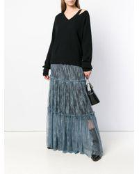Twin Set Blue Lace Panel Skirt