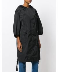 RED Valentino Black Cropped Sleeve Raincoat
