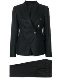 Tagliatore Black Double-breasted Trouser Suit