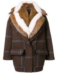 Blancha Brown Fur Collar Coat