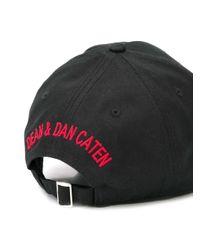 メンズ DSquared² ロゴパッチ キャップ Black