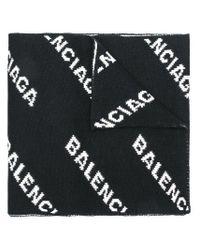 Sciarpa con logo all-over di Balenciaga in Black