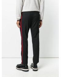 Lanvin - Black Stripe Panel Tailored Trousers for Men - Lyst