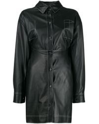 Robe-chemise courte en cuir Ruban en coloris Black