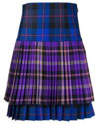 Versace Blue Pleated Tartan Skirt