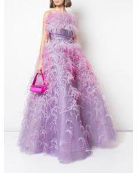 Robe bustier évasée à détails de plumes Marchesa en coloris Purple