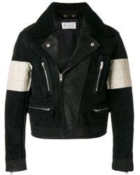 Maison Margiela Black Contrasted Biker Jacket for men