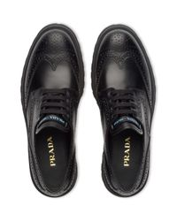 Prada Black Leather Derby Shoes With Rubber Sole