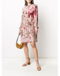 Vestido con lazo en el cuello y motivo floral Alberta Ferretti de color Pink