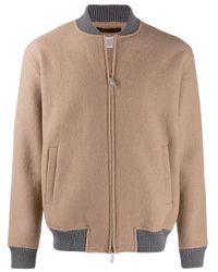 Eleventy Brown Zipped Bomber Jacket for men