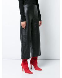 Adam Lippes Black Cropped Wide-leg Trousers