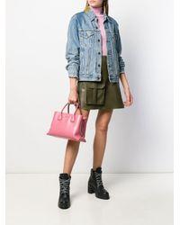 Bolso shopper con placa del logo Miu Miu de color Pink