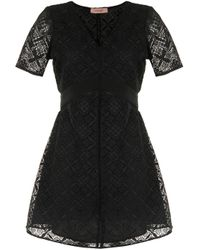Vestido corto con encaje de ganchillo Twin Set de color Black