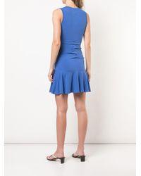 Nicole Miller シャーリング ニット ドレス Blue