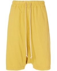 Rick Owens Drkshdw Yellow Drop-crotch Shorts
