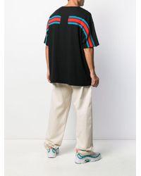T-shirt oversize con dettaglio a righe di Facetasm in Black da Uomo