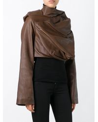 Rick Owens Brown Cropped Leather and Cotton Biker Jacket