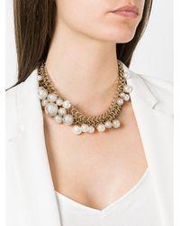 Lanvin - Metallic Pearl Necklace - Lyst