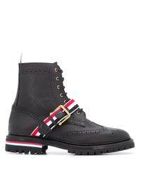 Ботинки С Ремешком В Полоску Rwb Thom Browne для него, цвет: Black