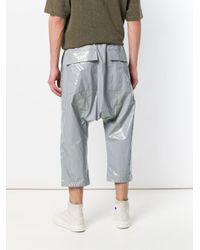 Rick Owens Drkshdw Gray Cropped Dropped Crotch Trousers for men