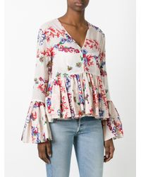 MSGM - Multicolor Floral Print Ruffled Blouse - Lyst