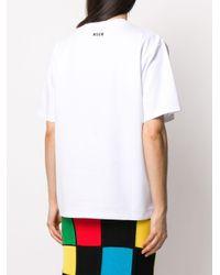 T-shirt oversize con stampa di MSGM in White