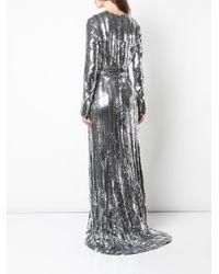 Robe longue brodée de sequins à manches longues Galvan en coloris Metallic