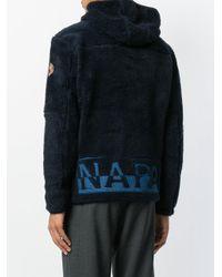Napapijri - Blue Zipped Fleece Hoody for Men - Lyst