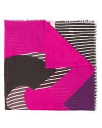 Liu Jo - Pink Stripe Detail Scarf - Lyst