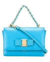 Lyst - Ferragamo Tiny Ginny Shoulder Bag in Blue fe83ab199baa0