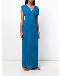 P.A.R.O.S.H. - Blue V-neck Palazzo Dress - Lyst