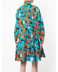 MSGM Black Rose Printed Frill Dress