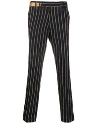 White Sand Blue Striped Adjustable-waist Trousers for men