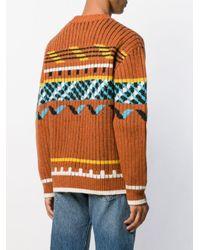 Pull à motif intarsia KENZO pour homme en coloris Brown