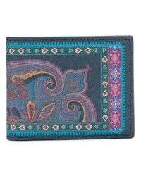 Etro - Blue Printed Bi-fold Wallet for Men - Lyst