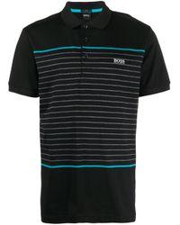 メンズ BOSS by Hugo Boss ストライプ ポロシャツ Black