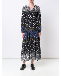 Suno | Black Floral Print Silk Dress | Lyst