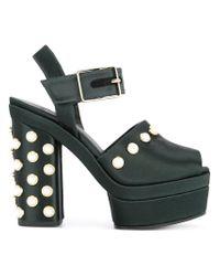 Castaner Black Pearl Embellished Platform Sandals