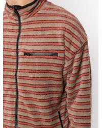 Pleasures Brown Caterpillar-stripe Fleece Jacket for men