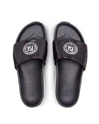 Fendi Pantoletten mit Logo in Black für Herren